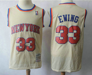 d55d0573d26 Men s New York Knicks  33 Patrick Ewing 1991-92 Cream Hardwood Classics  Soul Swingman