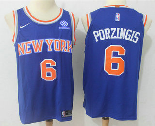 dee906df2 Men s New York Knicks  6 Kristaps Porzingis New Blue 2017-2018 Nike  Authentic Squarespace Stitched NBA Jersey