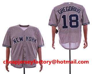 0fc197d7a Men s New York Yankees  18 Didi Gregorius Gray Road Stitched MLB Cool Base  Jersey