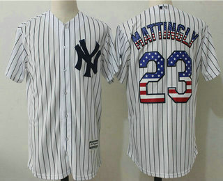 a5b442c0171 ... authentic collection stitched baseball jersey 92c21 3dcd9  new zealand  mens new york yankees 23 don mattingly white stitched mlb usa flag fashion  jersey