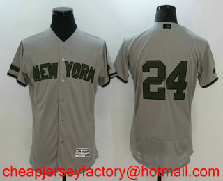 1d07a65c8 Men s New York Yankees  24 Gary Sanchez Gray with Green Memorial Day  Stitched MLB Flex