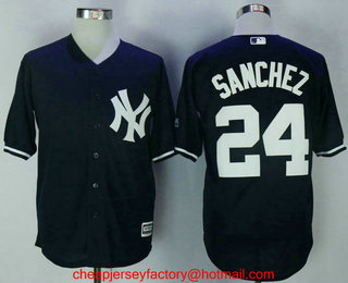 70f31e654a9 Men s New York Yankees  24 Gary Sanchez Navy Blue Name Stitched MLB Cool  Base Jersey