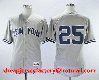 03fbff9e7 Men s New York Yankees  25 Gleyber Torres No Name Gray Road Stitched MLB Flex  Base