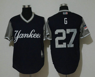 c66fd6a64 Men s New York Yankees  27 Giancarlo Stanton G Navy 2018 LLWS Players  Weekend Stitched Nickname Jersey