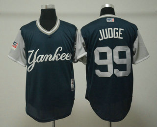 faca70e17 Men s New York Yankees  99 Aaron Judge Judge Navy 2018 LLWS Players Weekend  Stitched Nickname