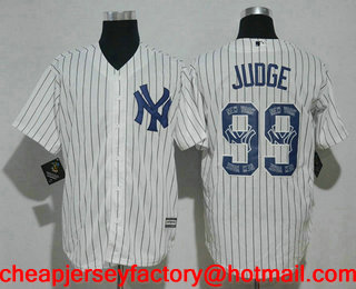 740adf42403 Men's New York Yankees #99 Aaron Judge White Team Logo Ornamented Stitched  MLB Cool Base Jersey