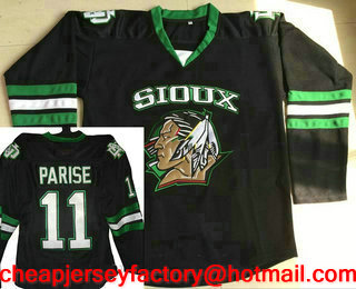 5a3de9b0a6a Men s North Dakota Fighting Sioux  11 Zach Parise Black Stitched College  Ice Hockey Jersey