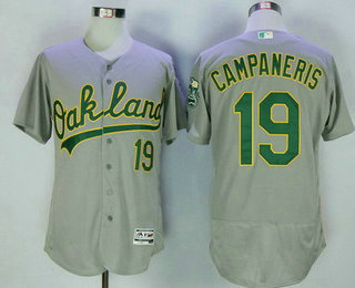 Men's Oakland Athletics #19 Bert Campy Campaneris Retired Gray Road Stitched MLB 2016 Majestic Flex Base Jersey