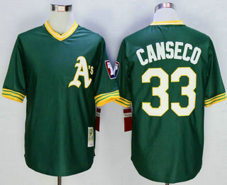 8cef07ae ... Mens Oakland Athletics 33 Jose Canseco Green Pullover Mitchell Ness  Throwback Jersey ...