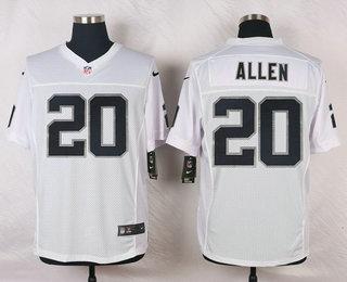 Men s Oakland Raiders  20 Nate Allen White Road Stitched NFL Nike Elite  Jersey 7d48aae9e
