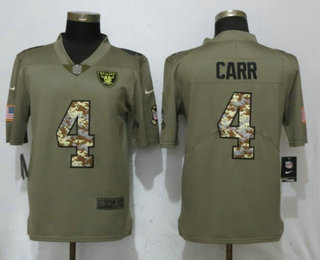 Men s Oakland Raiders  4 Derek Carr Olive With Camo 2017 Salute To Service  Stitched NFL 908edb0ce