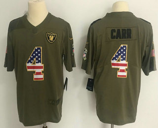 Men s Oakland Raiders  4 Derek Carr Olive with USA Flag 2017 Salute To  Service Stitched f9adc5311