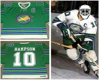 e0c48292b oakland seals jersey  mens oakland seals 10 ted hampson 1968 ccm vintage  throwback home green jersey