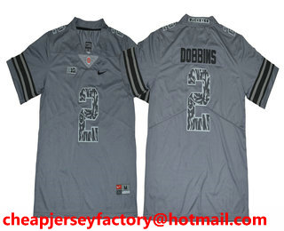 868427331 Men s Ohio State Buckeyes  2 J. K. Dobbins Gridiron Gray With Camo Stitched  NCAA 2017 Nike