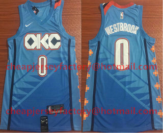 313071ce21f Men s Oklahoma City Thunder  0 Russell Westbrook Blue Nike 2019 New Season Swingman  City Edition