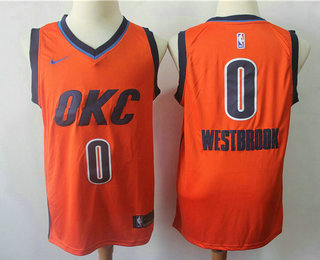 5e015ebed Men s Oklahoma City Thunder  0 Russell Westbrook Orange Nike Swingman 2018  playoffs Earned Edition Stitched