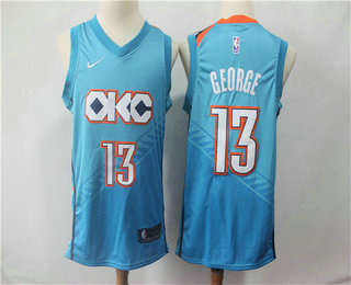 a7a133f063d Men s Oklahoma City Thunder  13 Paul George Blue Nike 2019 New Season Swingman  City Edition Jersey
