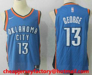 eeef0c71b40 Men s Oklahoma City Thunder  13 Paul George New Royal Blue 2017-2018 Nike  Swingman