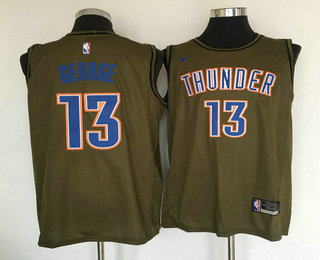 new product 32da7 0d596 Men s Oklahoma City Thunder  13 Paul George Olive Stitched Nike Swingman  Jersey