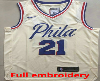 6e99e045d76b Men s Philadelphia 76ers  21 Joel Embiid Cream 2017-2018 Nike Swingman ALL  Stitched NBA