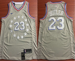 super popular 7da2d ba267 Men's Philadelphia 76ers #23 Jimmy Butler Gray 2018-19 City ...
