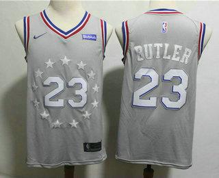 super popular a8b45 5041d Men's Philadelphia 76ers #23 Jimmy Butler Gray 2018-19 City ...