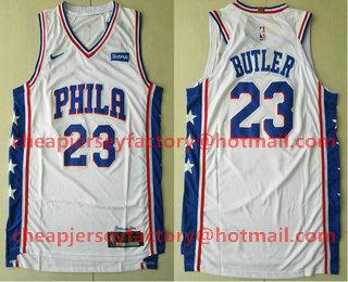 pretty nice dd933 e5419 Men's Philadelphia 76ers #23 Jimmy Butler White 2017-2018 ...