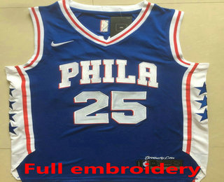 da19444dcfd Men's Philadelphia 76ers #25 Ben Simmons Blue 2017-2018 Nike Swingman ALL  Stitched NBA