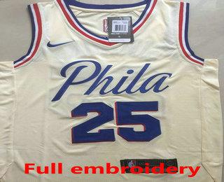 a7bc30790 Men s Philadelphia 76ers  25 Ben Simmons Cream 2017-2018 Nike Swingman ALL Stitched  NBA Jersey
