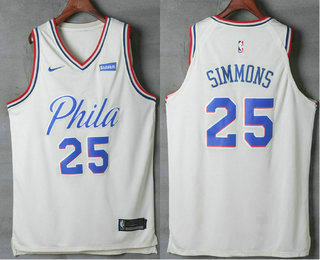 half off 41fb4 e0d24 Men's Philadelphia 76ers #25 Ben Simmons Cream Nike City ...