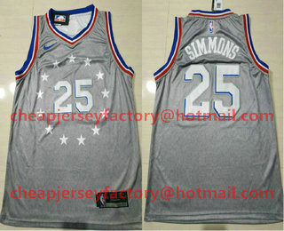 8feac24f1 Men s Philadelphia 76ers  25 Ben Simmons Gray 2018-19 City Edition Nike  Swingman Stitched NBA Jersey