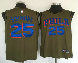 fe3b95317 Men s Philadelphia 76ers  25 Ben Simmons Olive Stitched Nike Swingman Jersey