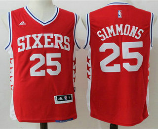 26b9a44b ... NBA Mens Philadelphia 76ers 25 Ben Simmons Red Revolution 30 Swingman  Basketball Jersey ...