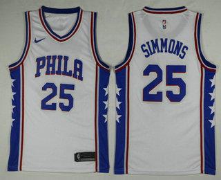 more photos bf196 e145d Men's Philadelphia 76ers #25 Ben Simmons White 2017-2018 ...