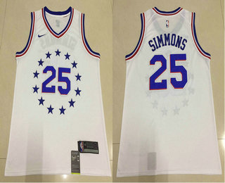 0a61ca6aced Men s Philadelphia 76ers  25 Ben Simmons White Nike Swingman 2018 playoffs Earned  Edition Stitched Jersey