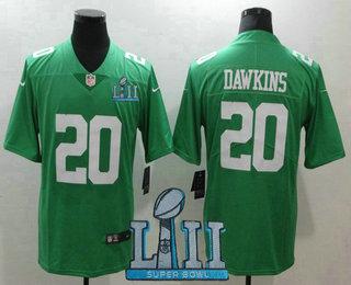 bea664cf2dd Men's Philadelphia Eagles #20 Brian Dawkins Light Green 2018 Super Bowl LII  Patch Vapor Untouchable Stitched NFL Nike Limited Jersey