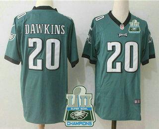 668c0f5d7 Men s Philadelphia Eagles  20 Brian Dawkins Midnight Green 2018 Super Bowl  LII Champions Patch Stitched