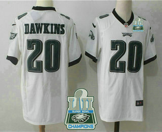 fcae1faec35 Men's Philadelphia Eagles #20 Brian Dawkins White 2018 Super Bowl LII  Champions Patch Stitched NFL