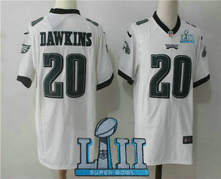 2661f40bdd2 Men's Philadelphia Eagles #20 Brian Dawkins White 2018 Super Bowl LII Patch  Stitched NFL Reited Player Nike Game Jersey