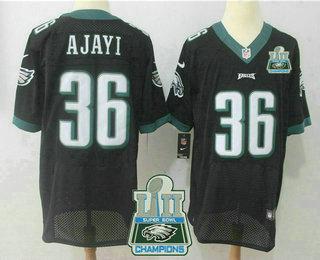 ad0d6962e Men s Philadelphia Eagles  36 Jay Ajayi Black 2018 Super Bowl LII Champions  Patch Alternate Stitched