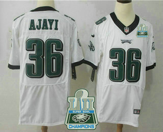 397d01456 Men s Philadelphia Eagles  36 Jay Ajayi White 2018 Super Bowl LII Champions  Patch Road Stitched