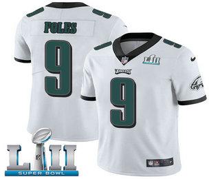 1c1a5b31168 Men's Philadelphia Eagles #9 Nick Foles White 2018 Super Bowl LII Patch Vapor  Untouchable Stitched NFL Nike Limited Jersey