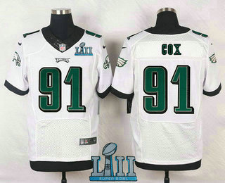 0e612662c8d Men's Philadelphia Eagles #91 Fletcher Cox White 2018 Super Bowl LII Patch  Road NFL Nike