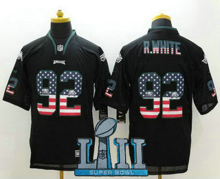 ... Nike Elite Jersey   23.5. Men s Philadelphia Eagles  92 Reggie White  Black 2018 Super Bowl LII Patch USA Flag Fashion cc2fbe401