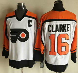 Men's Philadelphia Flyers #16 Bobby Clarke 1997-98 White CCM Vintage Throwback Jersey
