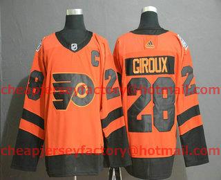 453342c7139 Men's Philadelphia Flyers #28 Claude Giroux Orange 2019 Stadium Series With  C Patch Adidas Stitched