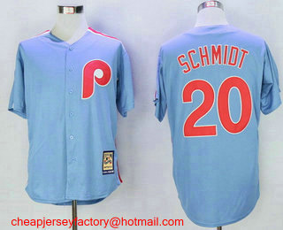 Men's Philadelphia Phillies #20 Mike Schmidt Light Blue Majestic Cool Base Cooperstown Collection Jersey