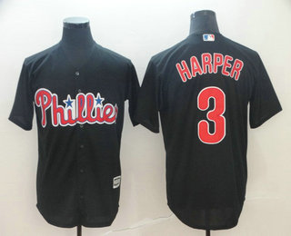 pretty nice 0a846 0112a Men s Philadelphia Phillies  3 Bryce Harper Black Stitched MLB Cool Base  Jersey