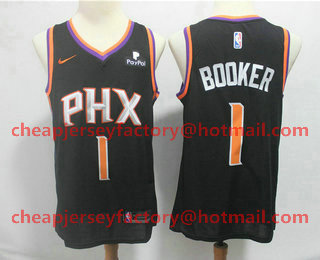 7db2c856a22 Men s Phoenix Suns  1 Devin Booker Black 2018 Nike Swingman Stitched NBA  Jersey With The