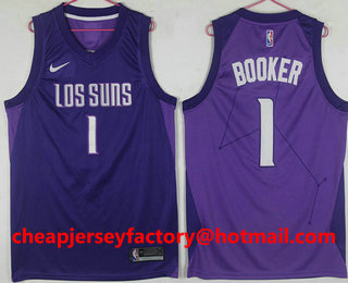 buy online a43f3 ba13c Men s Phoenix Suns  1 Devin Booker Purple City Edition Nike Swingman Jersey